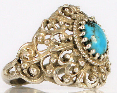 Antique Sterling Silver Hand Made Ornate Filigree Turquoise Ring Large S 11.5 !