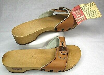 ab81c768f9df Vintage 1978 Dr Scholls Scholl Exercise Sandals Wood Leather Strap Size 8  NEW