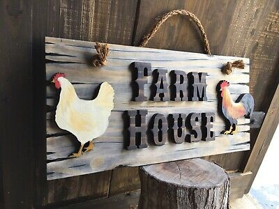 Rooster Hen Chicken Wood Sign Vintage Farm Country Rustic Antique Look Farmhouse