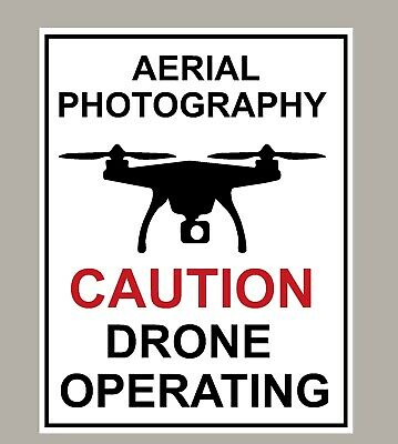 2 X Aerial Photography Caution Drone Operating Stickers Signs Large Size