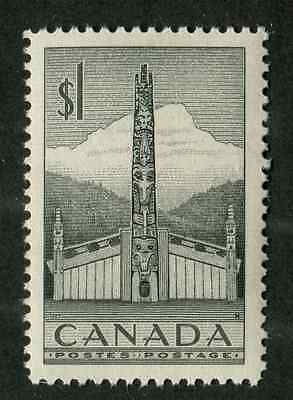 Canada #321 $1 Grey Totem Pole 1953 Karsh Issue Ribbed Paper - VF-80 NH