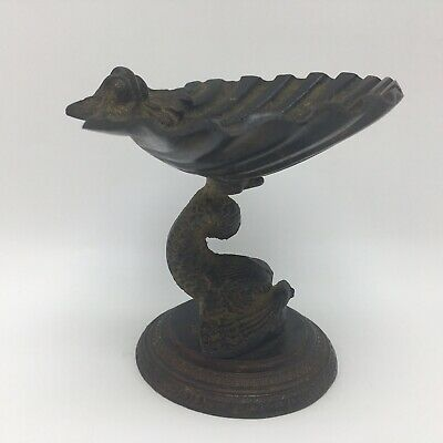 Vintage Cast Iron Scallop Shell Fish Pedestal Dish Soap Rings Jewelry Decor 3.5""
