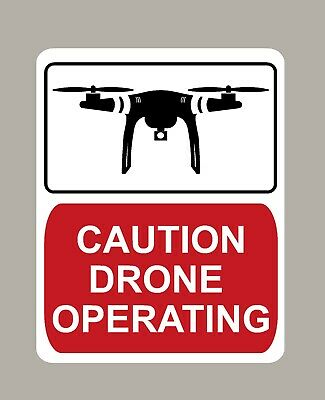 2 X Caution Drone Operating Stickers Signs Large Size