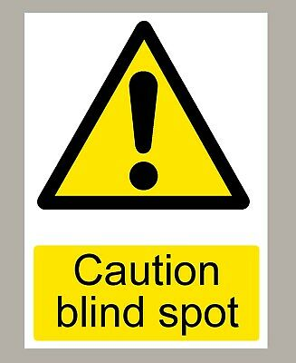 2 X Caution Blind Spot Stickers Signs