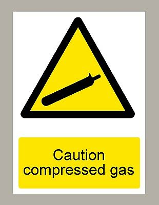 2 X Caution Compressed Gas Stickers Signs