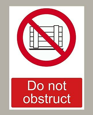6 X Do Not Obstruct Stickers Signs