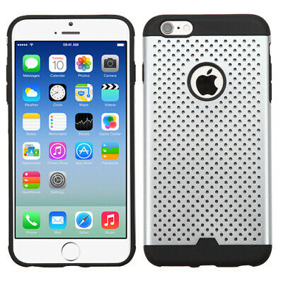 For iPhone 6s/6 Silver/Black TPU Ultra-thin Drilled Holes Hybrid Case Cover