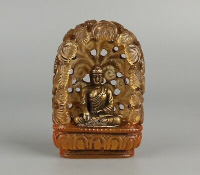 Chinese Exquisite Handmade Copper gilt Buddha with Glass Hollow Leaves Base