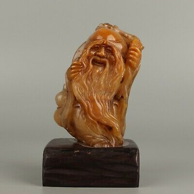 Chinese Exquisite Hand-carved Longevity god Carving Shoushan Stone seal