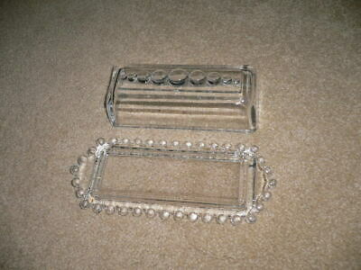 Vintage 1936 Imperial Candlewick Beaded Glass Butter Dish