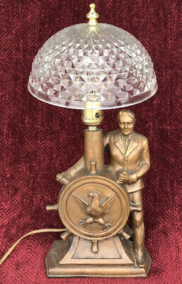 Franklin D Roosevelt At The Helm Bronzed Metal Presidential Lamp Gibralter