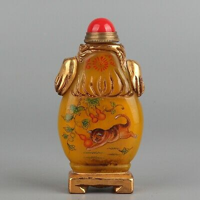 Chinese Exquisite Handmade Cat gourd Glass snuff bottle
