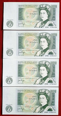 Uncirculated (NM) FOUR CONSECUTIVE Page £1 Notes - 28N 176020 to 28N 176023