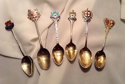 Antique Sterling Silver Enamel Souvenir Spoons English Hallmarks 64 Grams