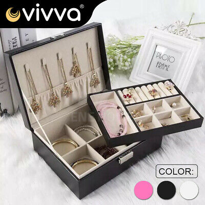 Dual Layer Portable Travel Jewelry Box Organizer Leather Ornaments Case Storage