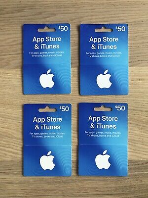 4 x $50 Apple iTunes Card Gift Cards - Voucher for ITunes and App Store