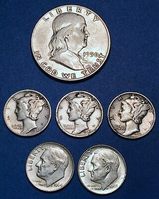 $1 Face Value - 90% Silver U.S. Coin Lot - Half Dollars, Quarters, or Dimes