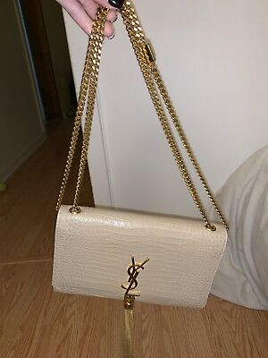 eeffbbb20f51 YSL SAINT LAURENT MEDIUM KATE MONOGRAM CROC EMBOSSED BAG With Tassel ...