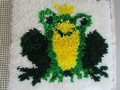 Completed Latch Stitch Frog, Worked Area Is 32Cms High By 34 Cms Wide