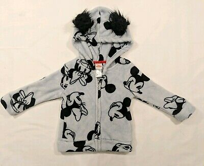 Mickey jr fleece zip up hooded sweater with ears pockets 2T Disney jr