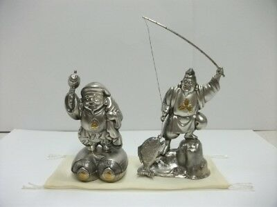 The god of wealth and Ebisu of virgin silver. Two of Japanese Seven Lucky Gods.