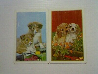 2 Swap/Playing Cards -  Pair Cute Puppies (1 X Blank Back)