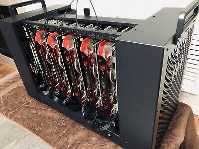 7 GPU Crypto Currency Mining Rig 210+MH/s Ethereum GTX 1070 AMD Radeon RX580 8GB