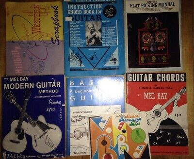 7 Guitar SONGBOOK Book LOT Instruction Books Music Mel Bay Vintage Collectible?