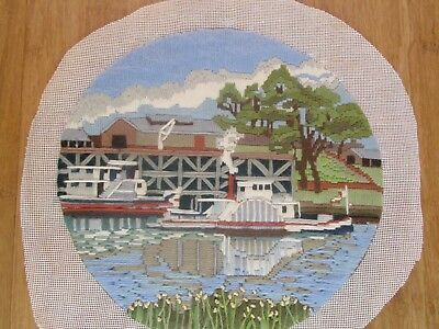 Completed Long Stitch Of A Paddle Boat & ?launch 27.5 Cms High X 29Cms Wide
