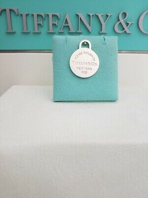 Please Return to Tiffany & Co Sterling Silver Circle Tag Charm Pendant