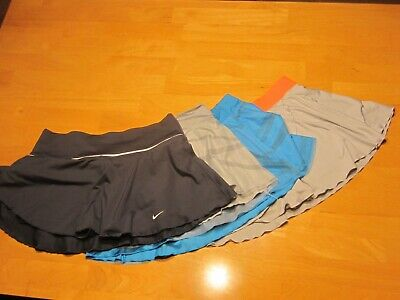Lot of 4 Women's Nike Dri-Fit Tennis Running Athletic Skirts Size M gray blue