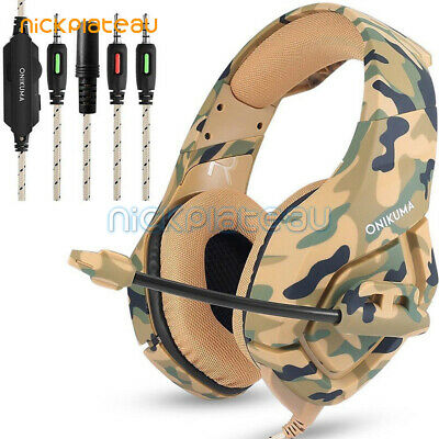 ONIKUMA K1 Stereo Bass Surround Gaming Camo Headset for PS4 Pro Xbox One PC /Mic