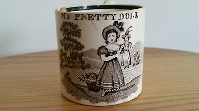 Rare Antique 19thC porcelain/ceramic 'My pretty doll' cup