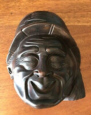 OLD JAPANESE WOODEN CARVED MASK WALL HANGING possibly Antique