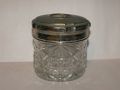 Vintage Cut Glass Vanity Jar Pot with Lid ideal for Dressing Table ReTRo