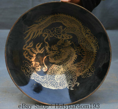 """9"""" Antique Old Chinese Porcelain Pottery Gild Dynasty Dragon Bead Bowl Bowls"""