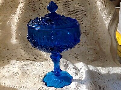 Vintage Le Smith Cobalt Blue Glass Apocathary Pedestal Candy Jar W Relief Roses