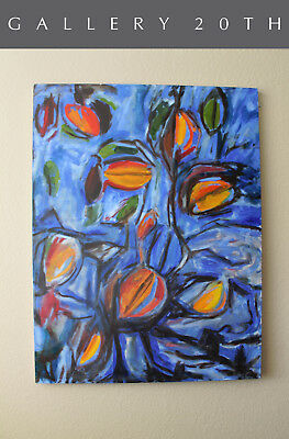 "Modern Cubist Orig Oil Painting! ""forbidden Fruit"" Art Abstract Millennium Vtg"