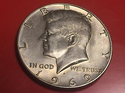 Half Dollar 1969  Kennedy Usa United States Of America Silver Argento