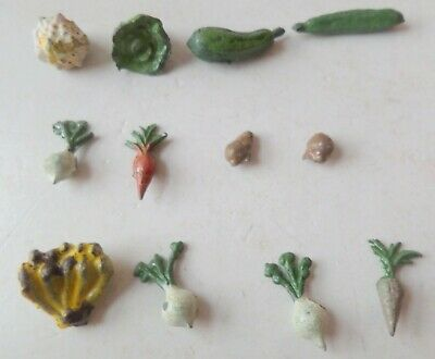 Charbens/similar Pre-War Painted Lead Coster Cart 12 Pieces Fruit & Vegetables