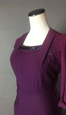 "SALE 1940s Vintage Purple Beaded Dress 3/4 Length Sleeves B: 40"" W: 30"" H:44"""