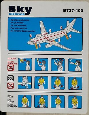 Sky Airlines, Turkey - Safety Card Boeing B737-400