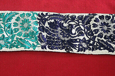 Vintage Sari Border Antique Zari Embroidered Work Trim Ribbon Lace