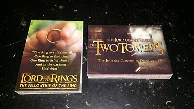 2 Full Sets of LOTR Collectors cards Fellowship of the rings/Two Towers