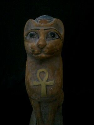 Rare ANCIENT EGYPT BASTED Ubasti Goddess EGYPTIAN CAT Pharaoh STATUE STONE- BC