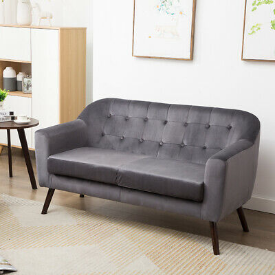 Soft Velvet Fabric Sofa Loveseat Love Seat Settee 2-Seater Arm Chair Couch Wood