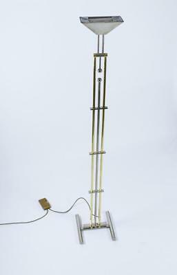 Goetz Chrome and Brass Adjustable Halogen Floor Lamp with Dimmer, Germany, 1970