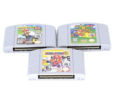 N64 Mario Game: Mario Party 3+Super Mario 64 + Mario Kart 64 for Nintendo 64