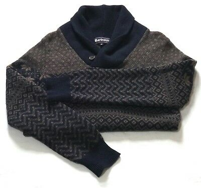 Beautiful £95 Barbour Nordic Fair Isle Style  Shawl Collar Jumper - Small - Vgc