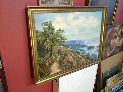 Fine Italian Antique Framed Oil on Canvas. Coastal Path and Figure Study. Signed